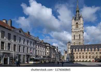 Ghent. Belgium. 08.19.17. The 91m Belfry of Ghent is one of three medieval towers in the old city center, the other two are Saint Bavo Cathedral and Saint Nicholas Church. UNESCO World Heritage Site