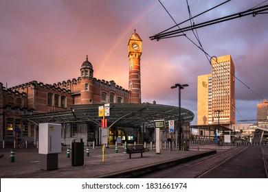 GHENT, BELGIUM: 11 OCTOBER 2020 - View on the main railway station (Gent-Sint-Pieters) in Ghent, Belgium