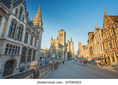 GHENT, BELGIUM - 17 MAY : Nice houses in the old town of Ghent, Belgium on 17 May 2014. Ghent is a city and a municipality located in the Flemish region of Belgium.