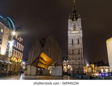 GHENT, BELGIUM - 18TH FEB 2016: The exterior of the Het Belfort van Gent in the Old Town at night.