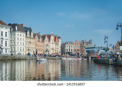 Ghent, Belgium - 2013 May 3rd: Cityscape of the Lys river and Graslei houses in Ghent by a sunny day.