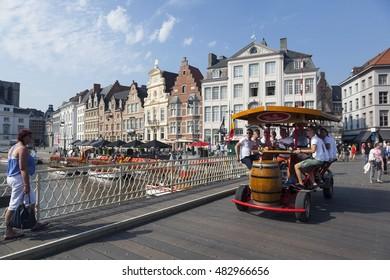 Ghent, Belgium, 27 august 2016: beer bike on grasbrug in centre of medieval Ghent in Belgium on sunny summer day