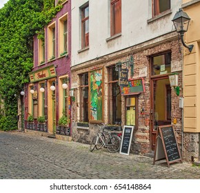 GHENT, BELGIUM - 30 MAY, 2015: Nice houses in the old town of Ghent, Belgium on 30 May 2015.