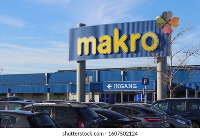 GHENT, BELGIUM, 6 JANUARY 2020: Exterior view of a Makro store in Eke near Ghent in Belgium. Makro is an international brand of warehouse clubs, also called cash and carries. Illustrative editorial.