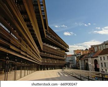 GHENT, BELGIUM, APRIL 15, 2017, Detail of the new city library designed by architects Coussée & Goris, called `De Krook`, in Ghent. 15 April 2017