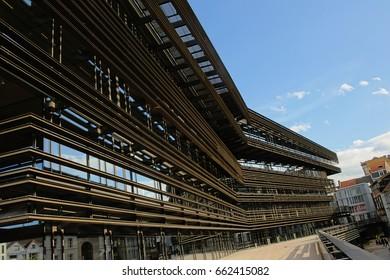 GHENT, BELGIUM, APRIL 15, 2017, The new city library of Ghent, Flanders, designed by architects Coussée & Goris, called `De Krook`. Ghent, 15 April 2017