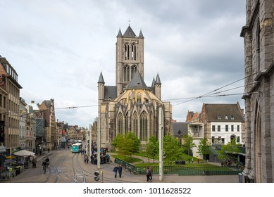 Ghent, Belgium - April 16, 2017: View on the center of Ghent with Saint Nicholas Church in Belgium, from the Belfry tower