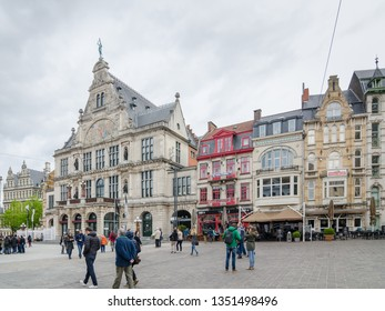 GHENT, BELGIUM - APRIL 16, 2017: Building of Flemish Opera or Vlaamse Opera House in the historic center of Belgian city of Ghent