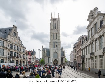 GHENT, BELGIUM - APRIL 16, 2017: West facade of the Saint Bavo Cathedral is a gothic cathedral in Ghent, Belgium
