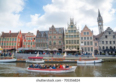 Ghent, Belgium - April 16, 2017: The Graslei is one of the most scenic places in Ghent's old city centre