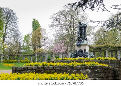 GHENT, BELGIUM APRIL 16, 2017: Sculpture in the citadelpark is a park in the Belgian city of Ghent.