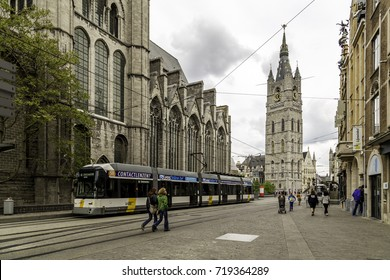 Ghent, Belgium – April 26, 2014: Tram on the streets of Ghent