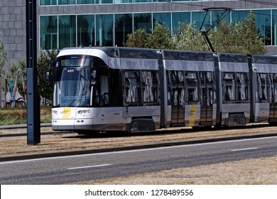 Ghent, Belgium - August 12, 2018: Public transport tram in service
