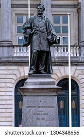 Ghent, Belgium - August 12, 2018: Bronze statue to Hippolyte Metdepenningen (1799-1881) Belgian lawyer and a politician. Sculptor: Juliaan Dillens (Antwerpen 1849 - Brussels 1904).