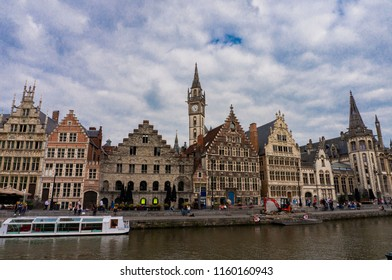 Ghent, Belgium - August 14,2018: Graslei and Korenlei along the Leie river in the historic city center