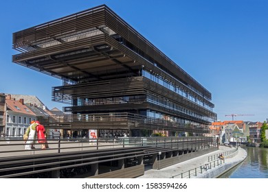 Ghent, Belgium. August 2019. De Krook, public library in the city center of Ghent / Gent, East Flanders, Belgium