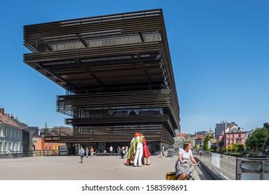 Ghent, Belgium. August 2019. De Krook, public library in the city center of Ghent / Gent in summer, East Flanders, Belgium