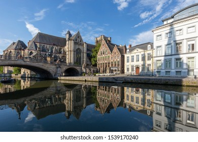 GHENT, BELGIUM - AUGUST 2019; The Lys River