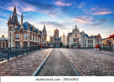 Ghent, Belgium at day, Gent old town