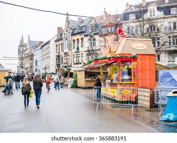 GHENT, BELGIUM - DECEMBER 11: View of Ghent city center on December 11 in Ghent, Belgium. It is a city and a municipality located in the Flemish region.