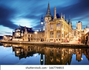 Ghent, Belgium during night, Gent old town