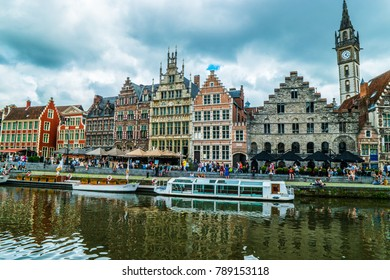 Ghent, Belgium, Europe, 06/22/2016. View of the Graslei and Korenlei by the river Leie.