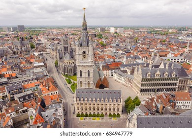 Ghent, Belgium - Exclusive view from the tower of the Saint Bavo Cathedral on the Belfry of Ghent and the historical city center of Ghent, Flanders, Belgium.