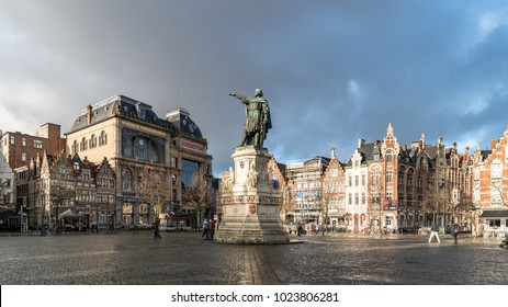 Ghent, Belgium - February 2018: Statue of Jacob van Artevelde in the Vrijdagmarkt square located in the old historic center of the medieval city of Ghent, Belgium
