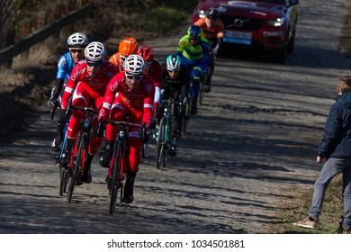 GHENT, BELGIUM - FEBRUARY 24:  The Breakway racing over the Haaghoek in Omloop Het Nieuwsblad on February 24th, 2018 in Belgium