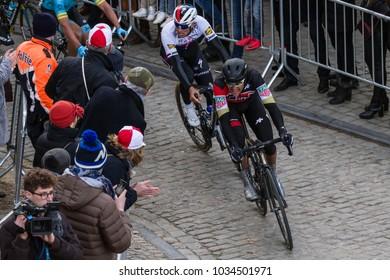 GHENT, BELGIUM - FEBRUARY 24:  Greg Van Avermaet (BEL) and Zdenek Stybar (CZ)  racing in Omloop Het Nieuwsblad on February 24th, 2018 in Belgium