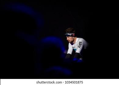 GHENT, BELGIUM - FEBRUARY 24:  Owain Doull (GBR) of Team Sky at the team presentation of Omloop Het Nieuwsblad on February 24th, 2018 in Belgium