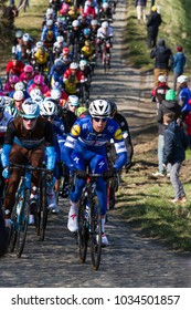GHENT, BELGIUM - FEBRUARY 24:  The peleton racing over the Haaghoek in Omloop Het Nieuwsblad on February 24th, 2018 in Belgium