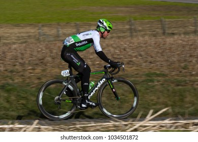 GHENT, BELGIUM - FEBRUARY 24:  Ryan Gibbons (RSA) racing in Omloop Het Nieuwsblad on February 24th, 2018 in Belgium