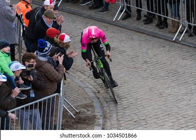 GHENT, BELGIUM - FEBRUARY 24:  Sep Vanmarcke (BEL) racing up the Murr in Omloop Het Nieuwsblad on February 24th, 2018 in Belgium