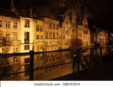 GHENT, BELGIUM – FEBRUARY 25, 2017: bicycle near the canal in the historic center of the medieval city of Ghent, Belgium