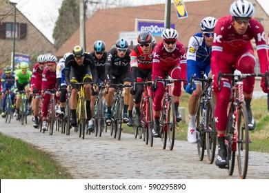 GHENT, BELGIUM - FEBRUARY 25: Greg Van Avermaet (BEL) of BMC watching ahead in the peleton on the way to his victory at the Omloop het Nieuwsblad bicycle race on February 25 2017 in Ghent, Belgium