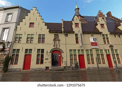 GHENT, BELGIUM, JANUARY 18, 2019, 'Huis van Alijn' museum in old medieval houses with stepped gables in Ghent, 18 January 2019