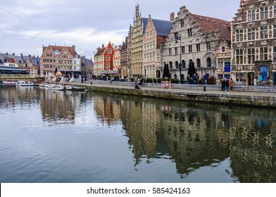 GHENT, BELGIUM - JANUARY 28, 2017: Reflection of medieval houses in Ghent, Flanders, Belgium