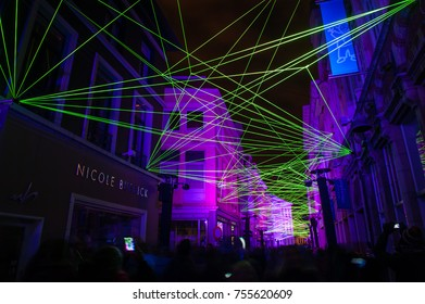 GHENT, BELGIUM. January 31, 2015. Light festival set in historical city center of Ghent. The Light Festival lights up the city of Ghent with works by international light artists. Ghent, Belgium.