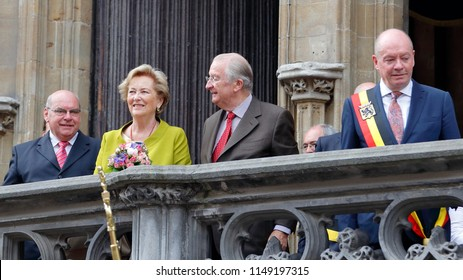 Ghent, Belgium - July 17, 2013: King Albert II and Queen Paola of Belgium bring an official visit to Ghent and are received by the city government and governor.