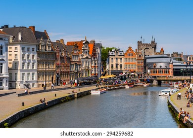 GHENT, BELGIUM  - JUN 5, 2015: Architecture the Leie river in  the historic part of Ghent, Belgium. Ghent is the capital and largest city of the East Flanders province