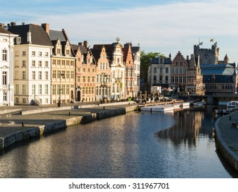 GHENT, BELGIUM - June 11, 2015: The historic center of Gent, channel and embankment