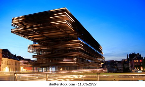 Ghent, Belgium - June 14, 2017: 'De Waalse Krook', Ghent's new city library and multimedia centre, offers an abundance of information, cosy reading corners, study areas, an auditorium and a restaurant