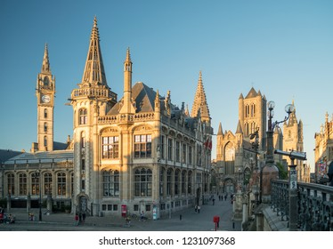 GHENT, BELGIUM - JUNE 2018:  Beautiful view of the Ghent 1898 Post Office at Graslei (Grass Quay) in the historic city center of Ghent, Belgium. It is one of the most scenic places in Ghent.