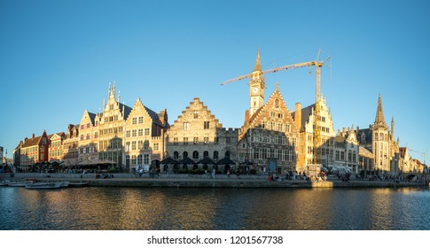 GHENT, BELGIUM - JUNE 2018: Panoramic view of the Graslei (Grass Quay) in the historic city center of Ghent, Belgium. It is one of the most scenic places in Ghent