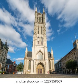 GHENT, BELGIUM - JUNE 2018: Saint Bavo Cathedral (Sint-Baafs Cathedral, or Sint Baafskathedraal), an 89 metres tall Gothic cathedral on Sint Baafsplein square, Ghent, Belgium