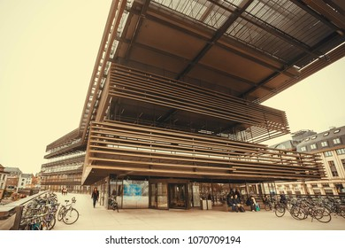 GHENT, BELGIUM - MAR 30, 2018: Architectural structure of the new public library, designed by Coussee and Goris, named De Krook on March 30, 2018. Ghent is capital city of the East Flanders province