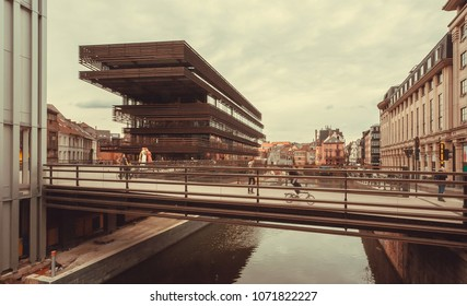 GHENT, BELGIUM - MAR 30, 2018: Urban structure of the new public library, designed by Coussee and Goris, named De Krook on March 30, 2018. Ghent is capital city of the East Flanders province