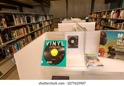 GHENT, BELGIUM - MAR 30, 2018: Books about music, sound and vinyl cultur inside the new public library De Krook on March 30, 2018. Ghent is capital city of the East Flanders province