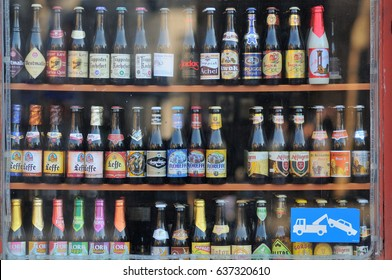 GHENT, BELGIUM - MARCH 07: Selection of traditional belgian beer in a small shop on March 07, 2011 in Ghent, Belgium. Ghent is the capital and largest city of the East Flanders province.